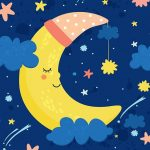 Crescent Moon with Hat and Stars
