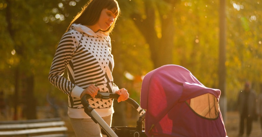 mom with a baby in a stroller